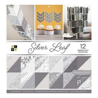 DCWV Double-Sided Paper Stack 12 inch X12 inch 36 pack Silver Leaf with Silve...