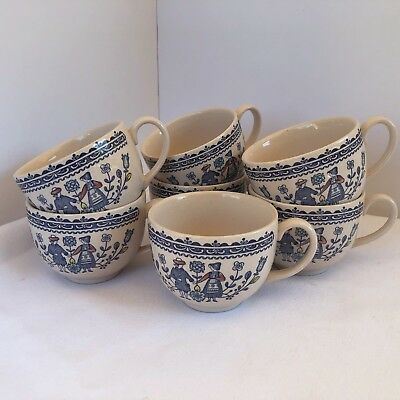 Lot of 7 Johnson Brothers Hearts and Flowers Tea Cups Staffordshire Old Granite