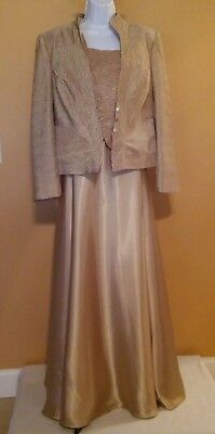 Midnight Velvet Gold Satin & Crushed Crepe Evening Gown w/Jacket - Women Size 14