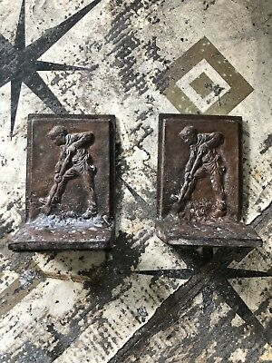Antique Vintage Bronze Or Bronze Cast Johnny Appleseed Bookends