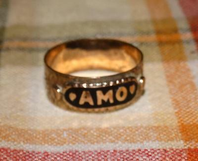 Antique Victorian AMO Black Enamel Gold Plated RGP ring1900 sz 8.25 cigar band