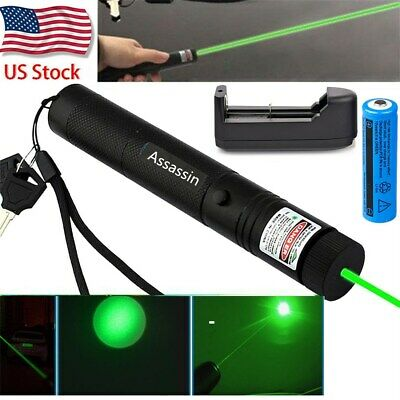 50Miles Assassin Green Laser Pointer Pen Visible Beam Light+18650Battery+Charger