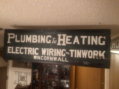 Early 1900's PLUMBING & HEATING ELECTRIC WIRING - TINWORK Wooden Sign WOW!!