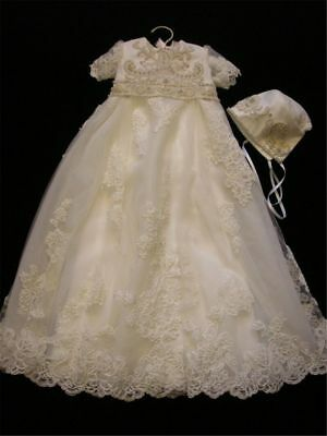 Luxury Crystal Beading Baptism Dresses Christening Baby Gown Long Newborn Ivory