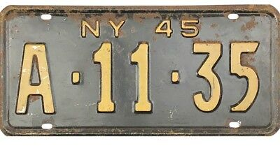 1945 New York License Plate #A-11-35 No Reserve