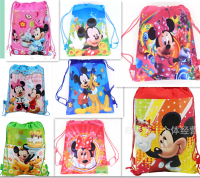 Mickey Mouse Minnie Drawstring Backpack Girl's School Sling Tote Gym Bag Gift