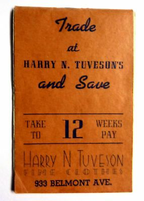 vintage 1939-40 calendar notepad Harry N. Truveson's fine clothes Chicago IL. !!