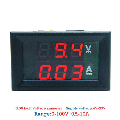 DC 100V 10A Voltmeter Ammeter Blue + Red LED Dual Digital Volt Amp Meter Gauge3C