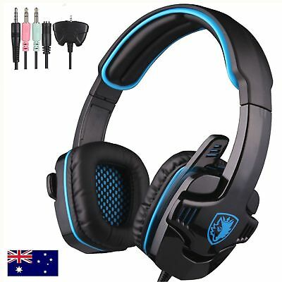 SADES Stereo Gaming Headset Headphones Mic 3.5mm Blue For XBOX 360 PC PS4 Lot GH