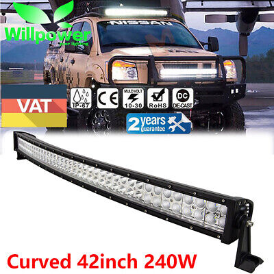 Combo 42Inch 240W Led Curved Work Light Bar Spot&Flood Driving Roof Lamp Offroad