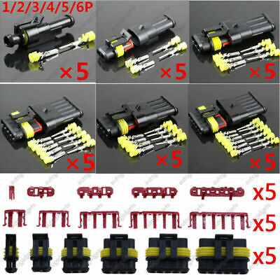 30Kit 1 2 3 4 5 6Pin Electrical Wire Connector Plug Sealed Waterproof Motorcycle