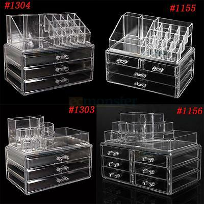 Acrylic Cosmetic Organizer Clear Makeup Case Drawer Storage Jewelry Cabinet Box