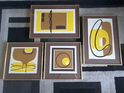 Set of 4 70s 80s Vintage ABSTRACT PRINT Signed & Numbered Harvest fall colors