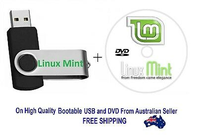 LINUX MINT New All Versions & Editions 32 / 64 Bit On Bootable 8 GB USB with DVD