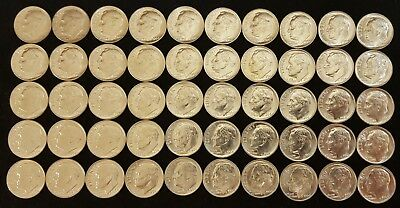roll of 50 90% silver Roosevelt dimes dated 1964 BU  D13