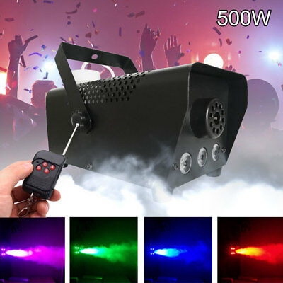 RGB LED Wireless Smoke Fog Machine Stage Mist Effect Remote 500W DJ Disco Party