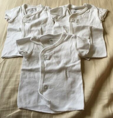 Lot Of 3 Carter's Newborn Side Snap White Shirts