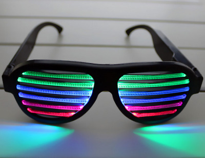 Sound Control Activated Shutter Flashing LED Light Up Shades Rave Glasses US NEW