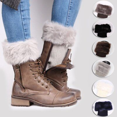 Womens Ladies Winter Knitted Boot Cuffs Fur Knit Toppers Boot Socks Legs Warmers