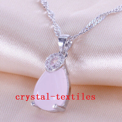 Silver Plated Natural Rose Quartz Teardrop Pendant Necklace Gift 12*8mm HH2624