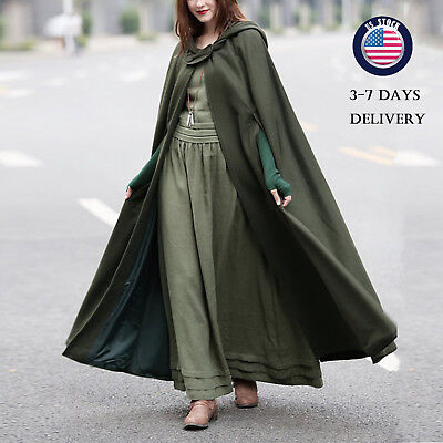 Womens Cloaks Long Ankle Length Cosplay Witch Halloween Autumn Hooded Coat US