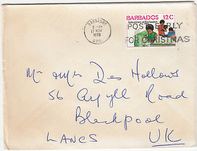 U1061 Barbados cover to UK, 1978; solo 12c stamp, Barbados GPO cancel