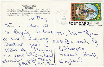 U1044 Barbados postcard to UK, 1980; solo 35c stamp; Barbados GPO cancel