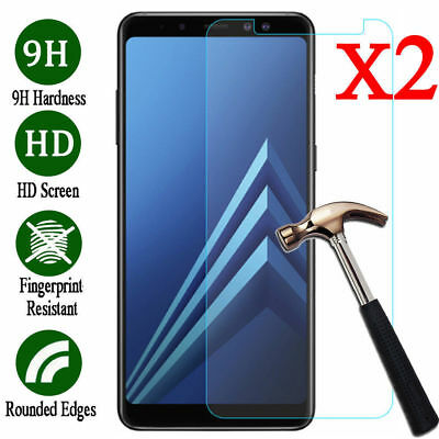 For Samsung Galaxy A3 A5 2017 A8 A8 Plus 2018 Tempered Glass Screen Protector 2X