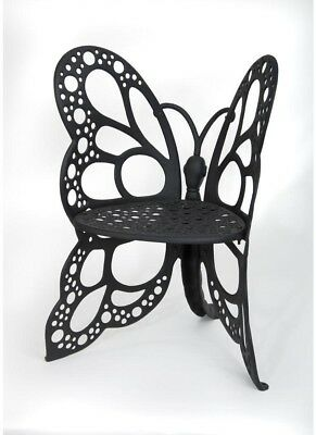 Lounge Chair 35 in. H All-Weather Scratch Rust Resistant Metal Butterfly Black