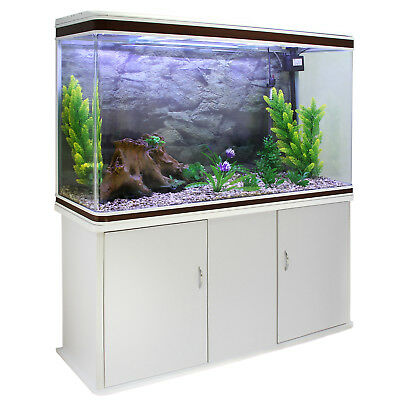 Aquarium à bords Blanc & Noisette avec Meuble de support Blanc