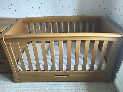 Solid Oak Mama And Papas Oceana Cot, mattress and brand new mattress cover.