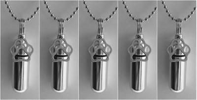 Pet Lover's Set of FIVE Silver PAW CREMATION URN Necklaces - MADE IN THE USA - 5