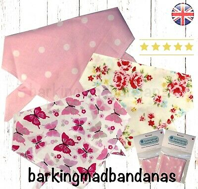 Dog Bandana, Handmade, Dog Bandanas, UK, Neck Scarf, Pink, Dog Neckerchief, Gift