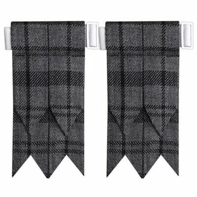 CC Hamilton Grey Tartan Kilt Flashes with Buckle/Scottish Kilt Hose Sock Flashes
