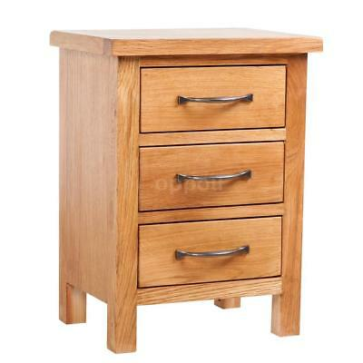 New Nightstand 3 Drawers Handles 40 x 30 x 54 cm Oak Brown Bedside Table X5F8
