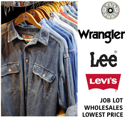10 x VINTAGE DENIM SHIRT JOB LOT WHOLESALE RANDOM LEE,LEVI'S,WRANGLER,UNBRANDED