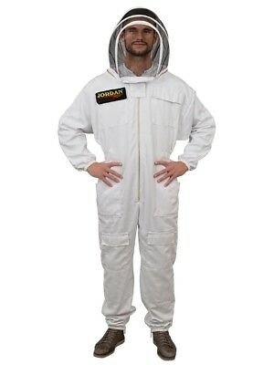 White & Khaki Beekeepers Bee Suit with Fencing Veil - 260gsm Polycotton