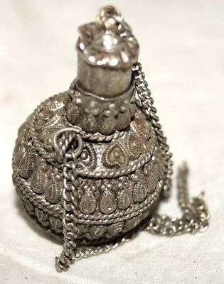 Antique Vintage Brass Hand Crafted Indian Islamic Surma Dani Eyeliner Pot