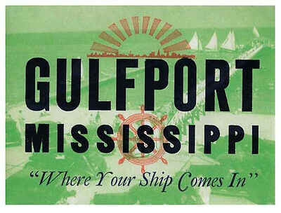 Gulfport, Mississippi  Gulf Coast    Vintage 1950's-Style  Travel Decal/Sticker