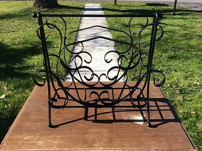 Vintage Hand Scrolled Wrought Iron Mid Century Floor Magazine Rack
