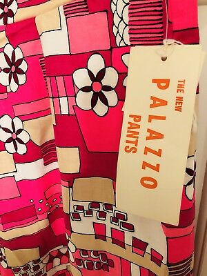 Vtg 60s Psychedelic Palazzo Pants-EXTRA Wide Legs. NWT! Vibrant Floral Sz 16