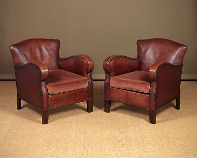 Pair Early 20th.c. Bothy Type Leather Armchairs c.1930.