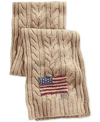 $295 POLO RALPH LAUREN Men BEIGE FLAG LAMBSWOOL BRAIDED KNIT SHAWL SCARF MUFFLER