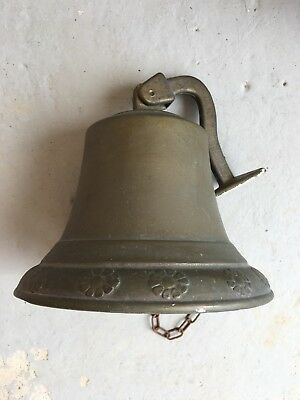 Antique Brass Outside Bell With Flower Embossed Edge