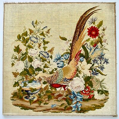 Antique Victorian Petit Point Wool And Silk Work Embroidery Pheasant & Flowers