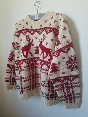 VTG* Eddie Bauer* 1992* Reindeer sweater* Large* Kitsch* Party* oversized* wool*