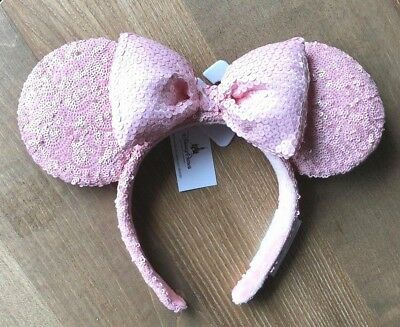 Disney Parks Exclusive Sequined Millennial Pink Minnie Mouse Ears Headband NEW