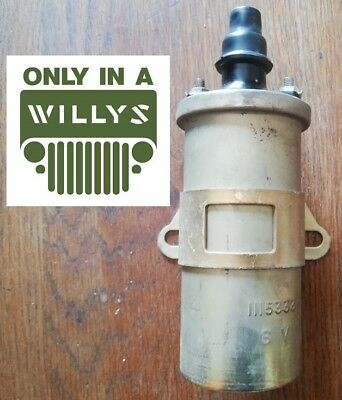 Neuf JEEP WILLYS FORD DODGE WC GMC SCOUT HALF BOBINE ALLUMAGE 6 VOLTS + SUPPORT