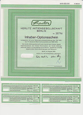3 er SET HERLITZ INHABER-OPTIONSSCHEIN BERLIN 1989  HISTORISCH