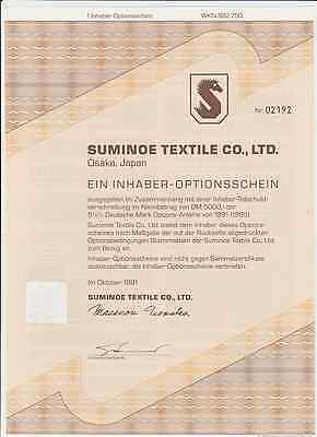 Suminoe Textile .co.ltd 1 Inhaber Optinosscheine  Japan 1991 Historisch
